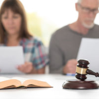 Couple going through divorce in courtroom