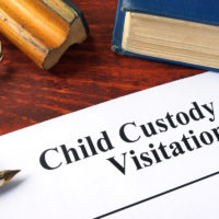 Child custody and visitation form with book and pen