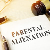 Book about parental alienation on a table next to gavel
