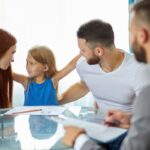 little daughter girl doesn't want parents to be divorced